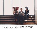 two cute businesswomen of... | Shutterstock . vector #679182886