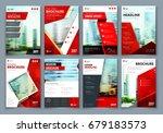 brochure design. red corporate...   Shutterstock .eps vector #679183573