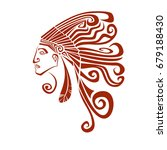 native american profile... | Shutterstock .eps vector #679188430