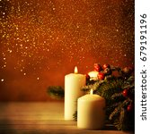 christmas candles and ornaments ... | Shutterstock . vector #679191196