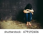 trapped woman. young woman... | Shutterstock . vector #679192606