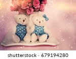 valentines day. two toy bears. | Shutterstock . vector #679194280