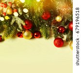 christmas card with fir and... | Shutterstock . vector #679196518