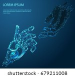 robot arm and hand human  touch.... | Shutterstock .eps vector #679211008