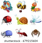 different types of insects... | Shutterstock .eps vector #679215604