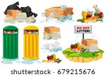 rubbish on the floor and... | Shutterstock .eps vector #679215676