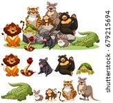 different types of wild animals ... | Shutterstock .eps vector #679215694