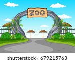 zoo entrance with no visitors... | Shutterstock .eps vector #679215763