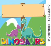 wooden sign with two dinosaurs... | Shutterstock .eps vector #679216840