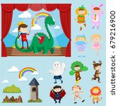 stage scenes with different... | Shutterstock .eps vector #679216900