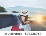 relaxed happy traveler  young... | Shutterstock . vector #679226764
