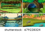 four forest scenes with trees... | Shutterstock .eps vector #679228324