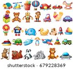 different types of toys... | Shutterstock .eps vector #679228369