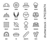 set of 16 bakery thin line... | Shutterstock .eps vector #679228474
