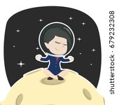 asian businesswoman doing yoga... | Shutterstock . vector #679232308