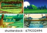four nature scenes day and... | Shutterstock .eps vector #679232494