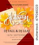 vector autumn party poster with ... | Shutterstock .eps vector #679260223