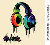 Headphone Rainbow In Graffiti...