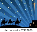 Vector illustration with three wise men and shining star of Bethlehem - stock vector