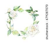 wildflower rose flower wreath... | Shutterstock . vector #679287070