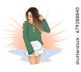 fashion girl in green shirt... | Shutterstock . vector #679288840