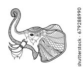 elephant boho illustration in... | Shutterstock . vector #679288990