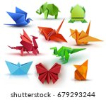 set origami butterfly  crane ... | Shutterstock .eps vector #679293244