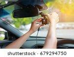 hands installation front camera ... | Shutterstock . vector #679294750