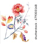 Leaves Flowers Watercolor Draw...