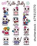 vector set of comic skeletons.... | Shutterstock .eps vector #679315570