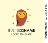 animal logo. a sitting owl.... | Shutterstock .eps vector #679316146