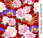 peony and chinese phoenix... | Shutterstock .eps vector #679316770