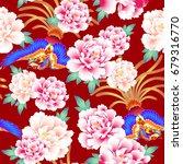 peony and chinese phoenix... | Shutterstock .eps vector #679316770