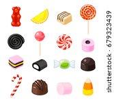 set single cartoon candies ... | Shutterstock .eps vector #679323439