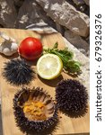 fresh sea urchin served with... | Shutterstock . vector #679326376