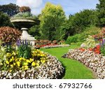 Flowerbeds  Grass Pathway And...