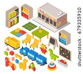 vector isometric kindergarten... | Shutterstock .eps vector #679335910