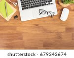 wood office desk table with... | Shutterstock . vector #679343674