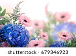 Stock photo amazing background with hydrangeas and daisies yellow and blue flowers on a white blank floral 679346923