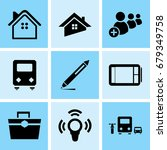 set of 9 mixed icons such as...   Shutterstock .eps vector #679349758