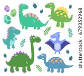 cute vector set with dinosaurs. ... | Shutterstock .eps vector #679352968
