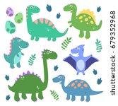 funny smiling dinosaurs  foot... | Shutterstock .eps vector #679352968