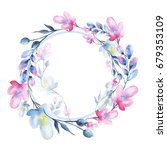 a round watercolor frame  a... | Shutterstock . vector #679353109