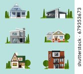 real estate set with sale... | Shutterstock .eps vector #679353673