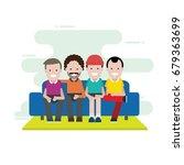 four man sitting on sofa | Shutterstock .eps vector #679363699
