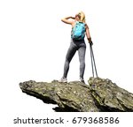 tourist is standing on a rock... | Shutterstock . vector #679368586