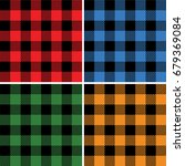lumberjack plaid pattern set... | Shutterstock .eps vector #679369084