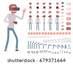 man in virtual reality headset. ... | Shutterstock .eps vector #679371664