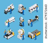 metalworking people isometric... | Shutterstock .eps vector #679372660
