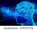 blue brain human background | Shutterstock .eps vector #679372756